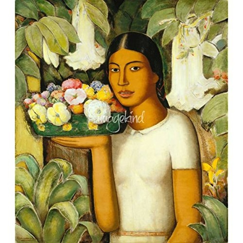 Wall Art Print entitled Alfredo Ramos Martinez , Mujer Con Flores, Girl Wi by Celestial Images   11 x 11