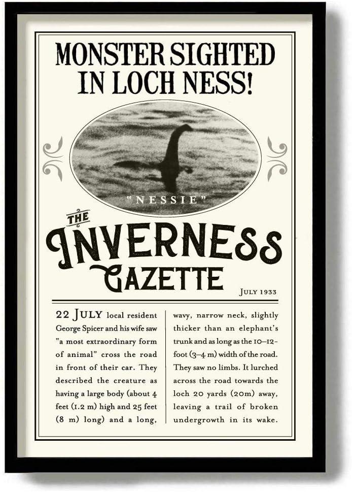 Flowershave357 Loch Ness Monster Oddities and Curiosities Nessie Art Print Cryptozoology Scotland Wall Art Sea Serpent Nautical Decor Newspaper