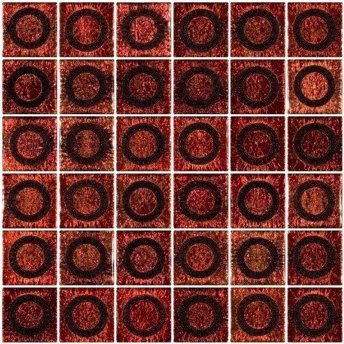 Lime Medallion (Susan Jablon Mosaics - 2x2 Inch Orange Lime Medallion Dichroic Glass Tile)