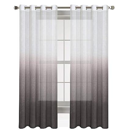 HVERSAILTEX Taupe Gray Curtains Natural Linen Mixed Semi Sheer 96 Inches Long Beautiful