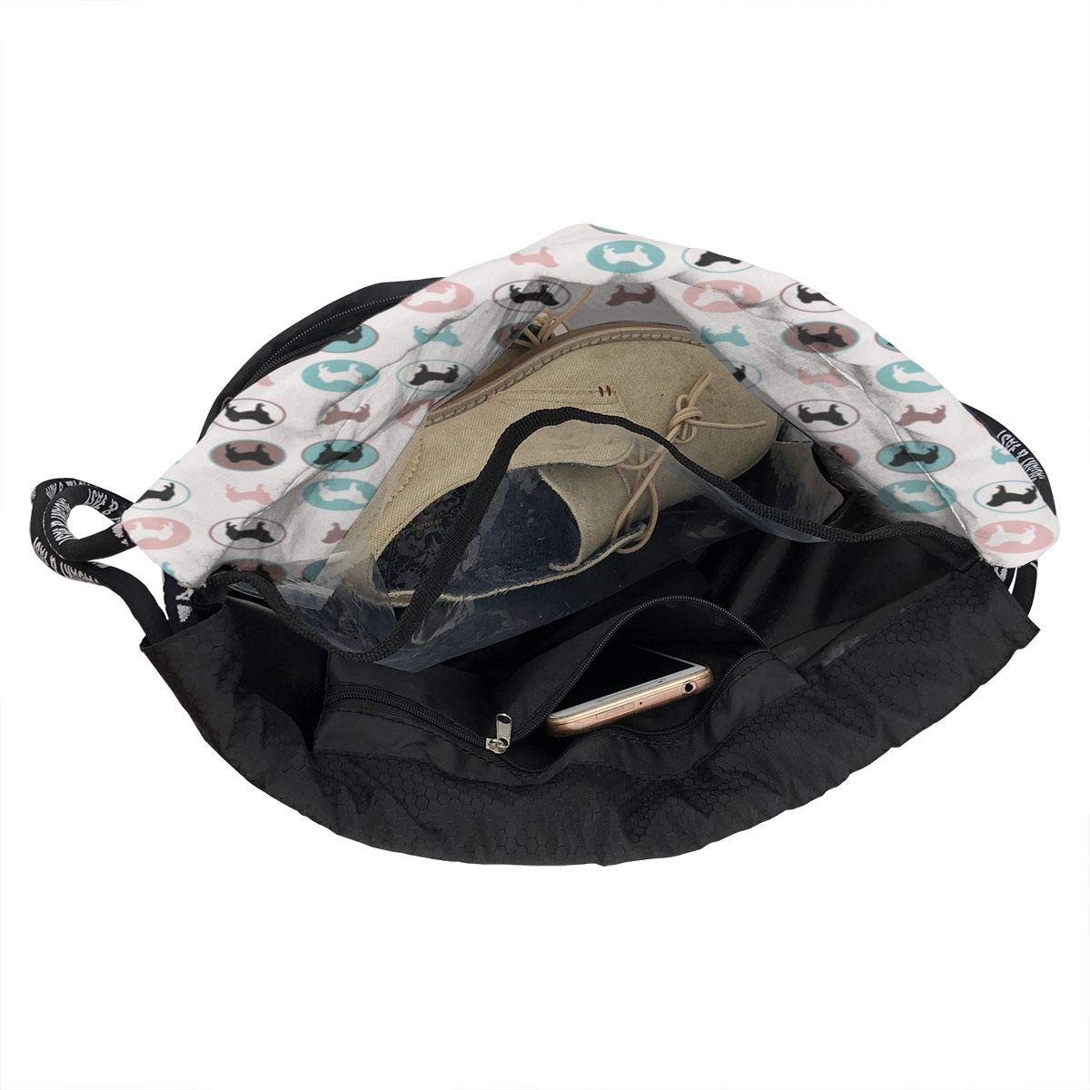 Pugs Circles Drawstring Backpack Sports Athletic Gym Cinch Sack String Storage Bags for Hiking Travel Beach