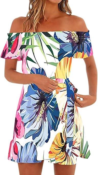 Slyar Vestido Verano Mujer Playa Vestido Estampado para Mujer ...