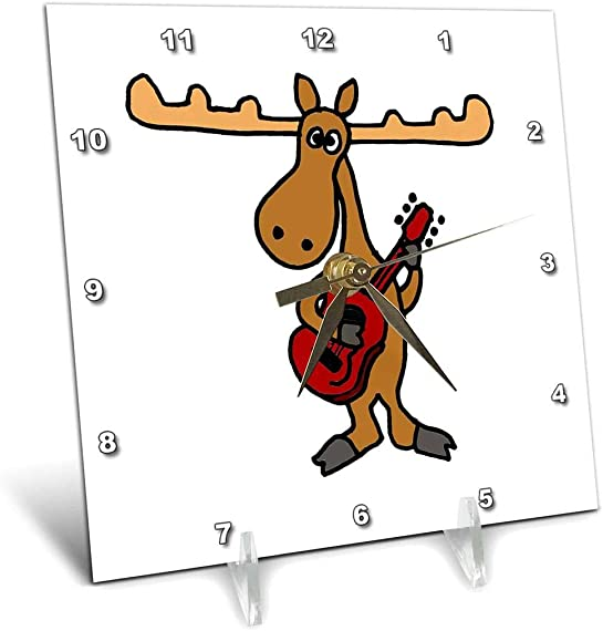 3dRose Funny Moose Playing Guitar – Desk Clock, 6 by 6-Inch dc_196090_1