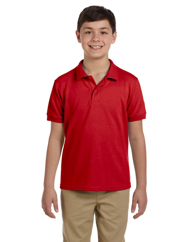 Gildan Boys 6.5 oz. DryBlend Pique Sport Shirt (G948B) -RED -M-12PK