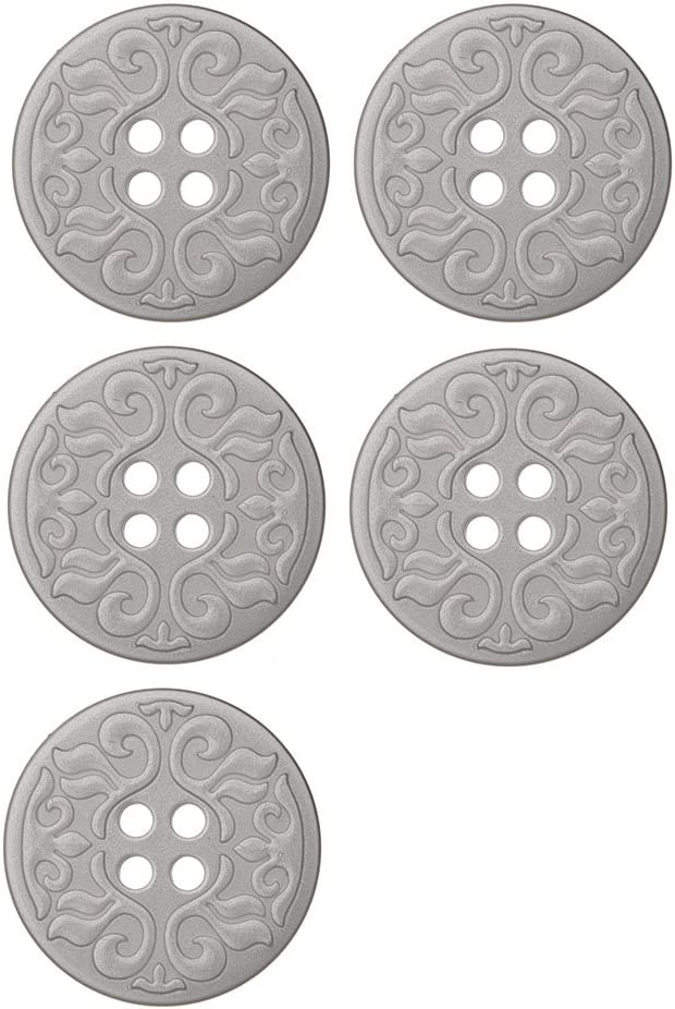 ABS Metal Plated Button 4 Hole Scroll Design 60 Line Alumino