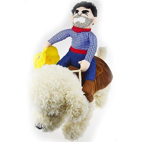 Disfraz de caballo de equitación con sombrero para perro pequeño ...