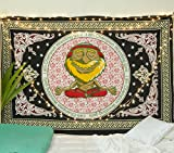 Popular Handicrafts New Launched Tapestry Wall Hanging Yoga Tapestry Hippie Mandala Gypsy Meditation Room Décor, Yog Guruji in Traditional Print Tapestries Black Red Green Yellow