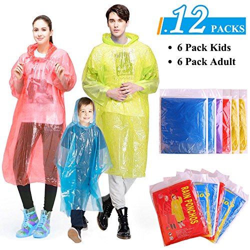 GINMIC Ponchos Family Pack - 12 Pack Rain Ponchos for Kids and Adults, Assorted Colors, Extra Thick 0.03mm, Disposable Emergency Rain Ponchos for Family Travel, Camping, Hiking, Fishing ()