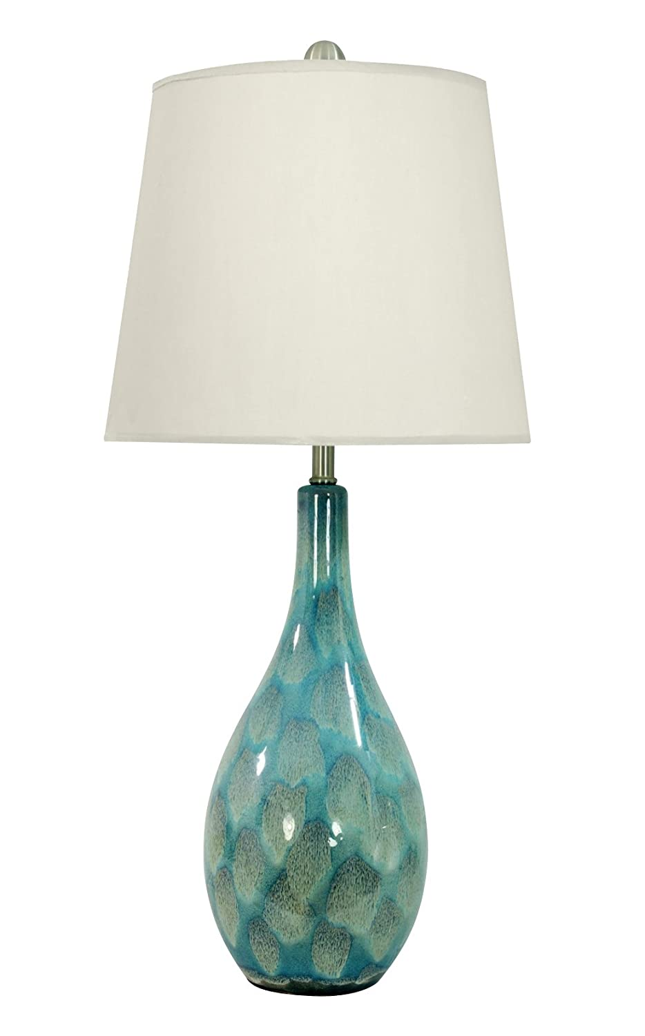 """Deco 79 95774 Ceramic Round Blue Table Lamp with White Shade /& Glaze Feather Pattern 8/"""" x 32/"""""""