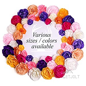 "Letjolt Large Paper Flower Decorations 4""-8'' Crepe Paper Flower Handcrafted Flowers Wall Hanging Classic Giant Flower for Wedding Backdrop Baby Shower Nursery Wall Decor Archway Decor 56"