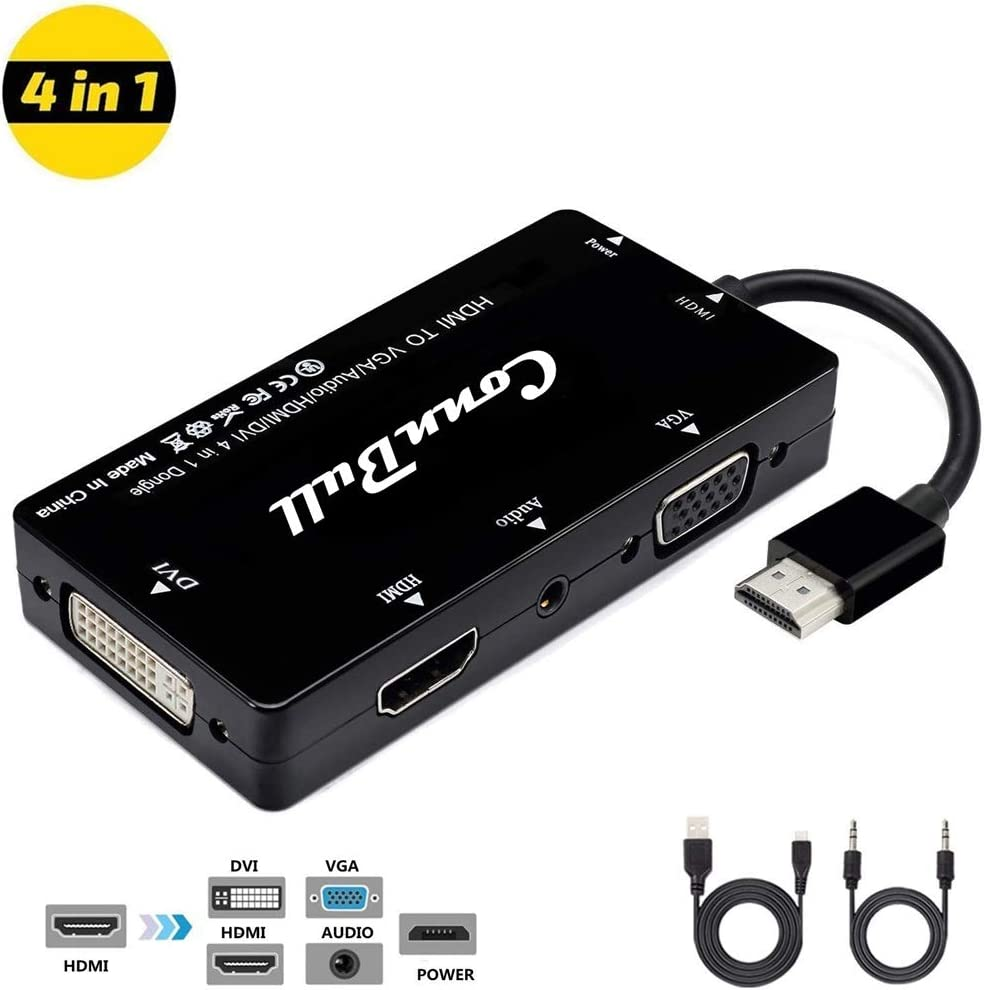 HDMI Adapter, ConnBull Multiport HDMI to VGA DVI HDMI Synchronous Display with Audio 4 in 1 Video Converter 1080p for Laptop Monitor Projector Black