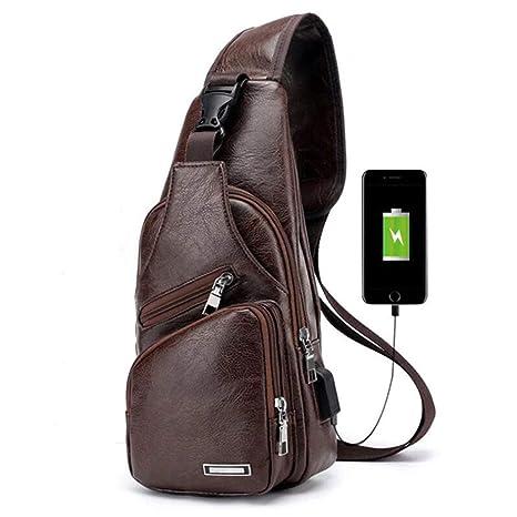migliori scarpe da ginnastica c3a16 1047f Charminer Zaino Monospalla Zaino Spalla Uomo Piccolo Borsa Sling Messenger  Marsupio Messaggero Tasca sul Petto Spalla Borsa Uomo Ricarica USB Porta ...
