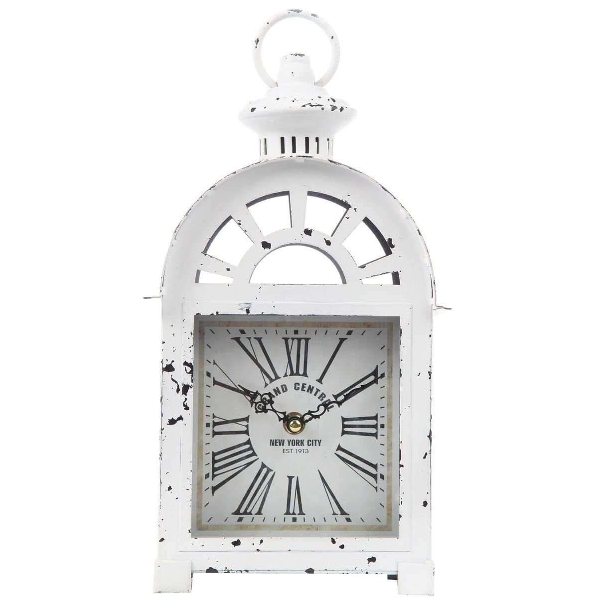 "Lily's Home Vintage Inspired Lantern Grand Central New York City Train Station-Style Mantle Clock, Battery Powered with Quartz Movement, Fits with Victorian or Antique Décor Theme (13 3/4"" Tall)"