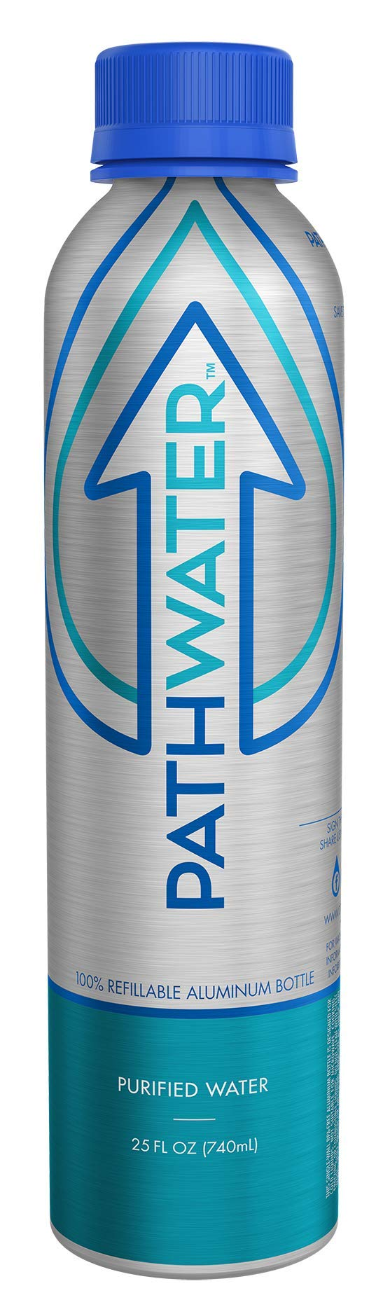 PATHWATER Purified Bottled Water in BPA Free Reusable & Refillable Aluminum Bottle - 740 ml - 25 ounces (1 Bottle)
