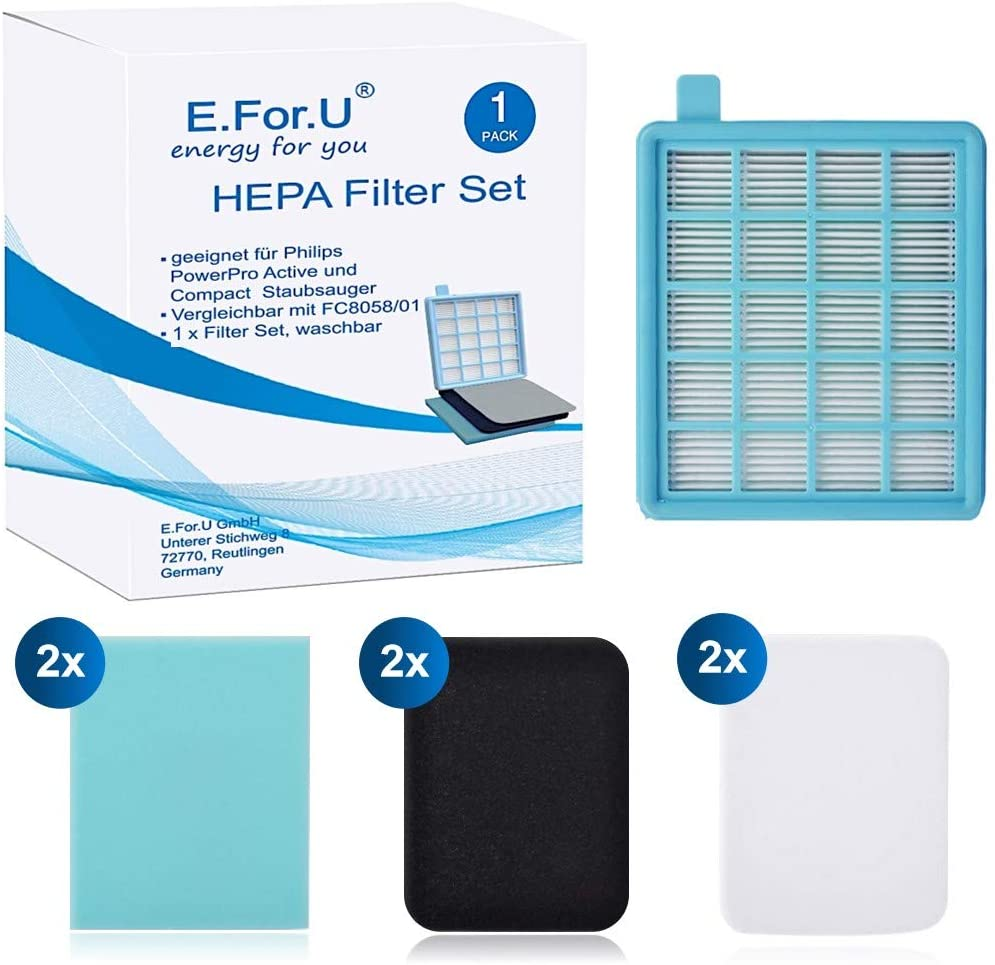 EForU Kit de Filtres pour les Aspirateurs Philips PowerPro Active et PowerPro Compact Alternative /à FC8058 01