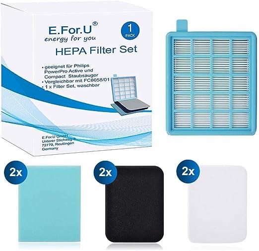 E. for.U Juego de filtros para Philips PowerPro Active y Compact ...