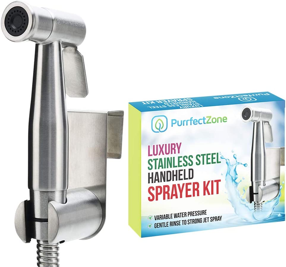 Purrfectzone Bidet Sprayer for Toilet and Baby Cloth Diaper Sprayer- Easy to Install, Great Hygiene with Less Money Spent (Brushed Nickel)