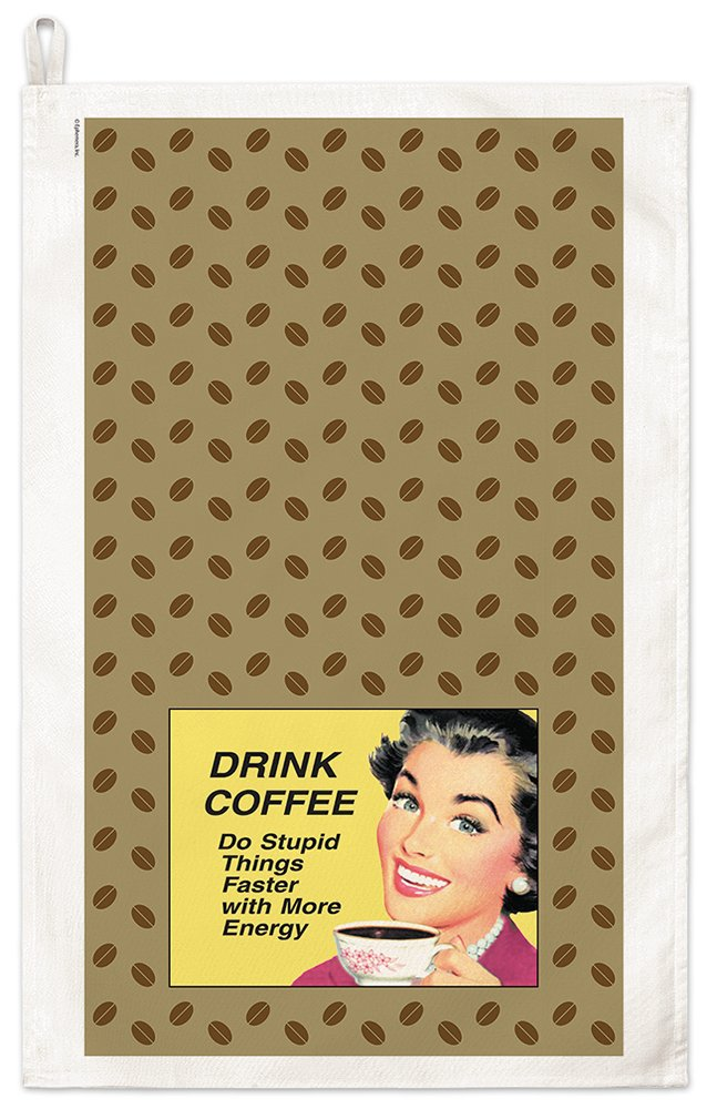 Drink Coffee Do Stupid Things Faster With More Energy Retro Kitchen Towel Fiddler/'s Elbow E1