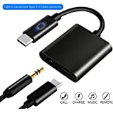 Anskp 2 in 1 Type C Male Fast Charge Adapter USB C to 3.5mm Audio Headphone Jack Adapter Supports Audio and Charging for Huawei, HTC, Google Pixel 3/3 XL/2/2 XL, Support Phone Call and Volume Control