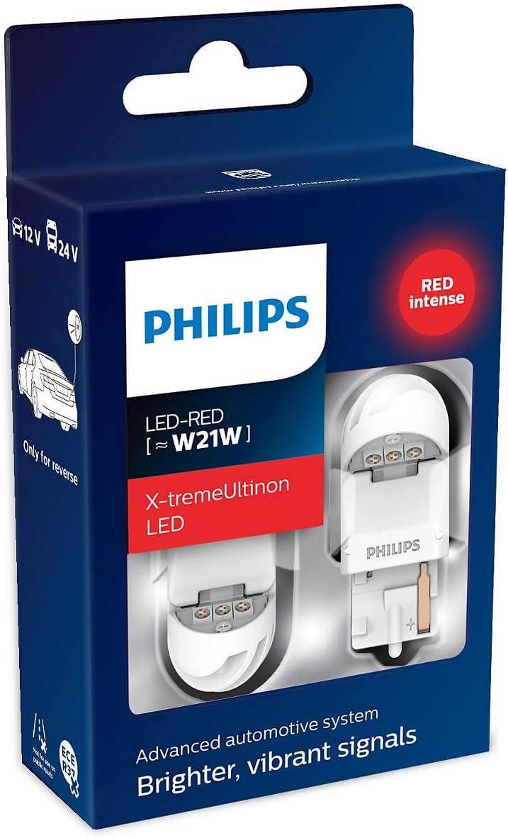Philips 11065XURX2 LED foco de señalización para automóvil (W21W red), Rojo, Set de 2: Amazon.es: Coche y moto