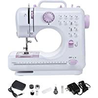 Nynelly Mini Sewing Portable Sewing Machine for Beginner, Kids Art Craft with Foot Pedal 12 Built-in Stitches 2 Speeds…