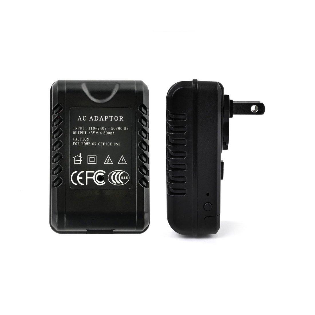 RecorderGear AC80 HD 1080P Hidden Camera AC Adapter / Motion Activated / 15° Upward Lens / Loop Recording / Covert Security Spy Nanny Cam