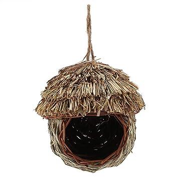 Pssopp Nido de pájaro Tejido a Mano Paja Jaula de pájaros Loro Anidación Colgando Cría Cueva