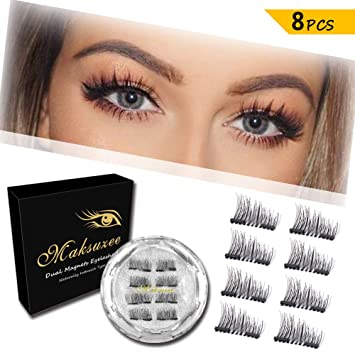 b026d377a2a Amazon.com : Maksuzee Magnet Eyelashes Dual Magnetic Half Eye False  Eyelashes with no Glue, Fake Lashes Extension for Natural Look 8 Pieces /2  Pair : Beauty