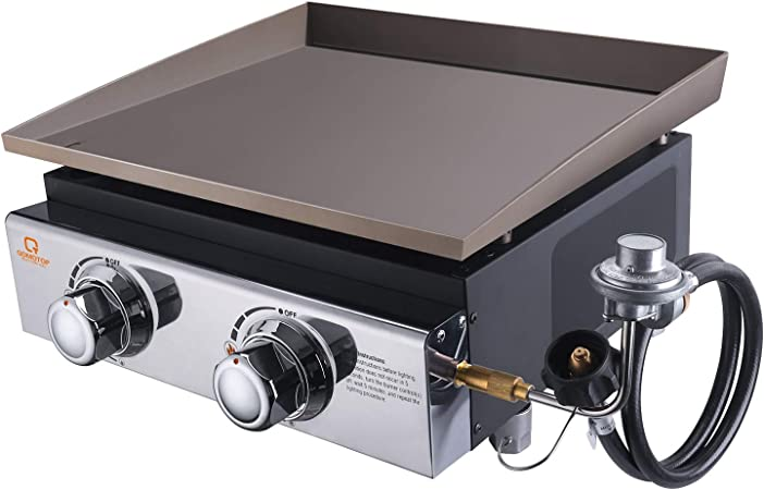OT QOMOTOP Propane Gas Grill,18'' Portable Griddle with 2 Burners, 17000 BTU, 282 Square-Inch Cooking Area, Flat Top Grill, Camping Grill, Backyard Grill or Party Grill