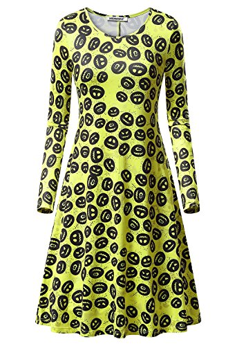 Women's Halloween Scary Bat Pumpkin Spider Smock Swing Costume Dress Funny Long Sleeve Casual Flared Midi Party Dresses]()