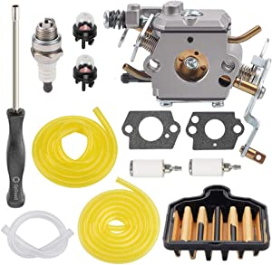 Powtol C1M-W47 573952201 Carburetor with 575296301 Air Filter for Poulan Pro PP5020AV PP4818A 2 Stroke Craftsman 358350981 358350980 358350982 Gas Chainsaw
