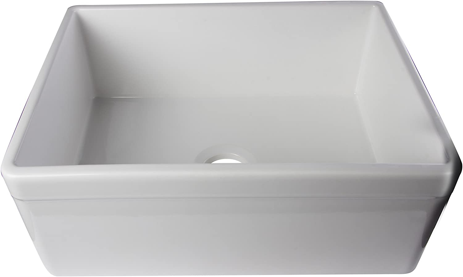 ALFI brand AB506-W 26-Inch Decorative Lip Single Bowl Fireclay Farmhouse Kitchen Sink, White