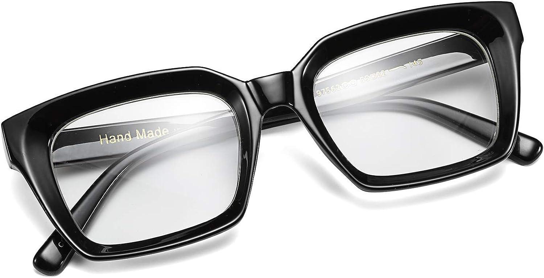 FEISEDY Classic Square Eyewear Nicht verschreibungspflichtiger dicker Brillenrahmen f/ür Frauen B2461