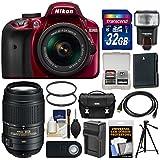 Nikon D3400 Digital SLR Camera & 18-55mm VR DX AF-P Zoom (Red) with 55-300mm VR Lens + 32GB Card + Case + Flash + Battery & Charger + Tripod + Kit