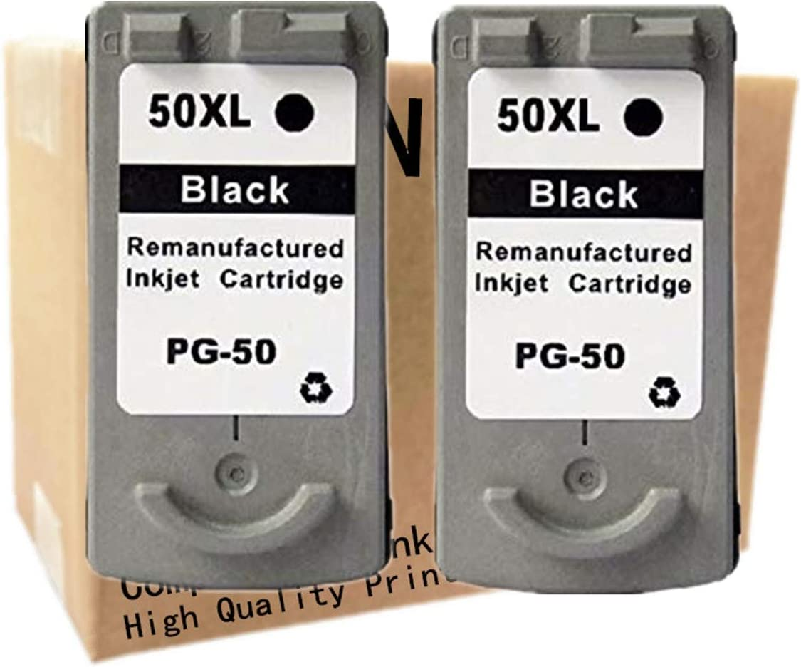 2 Black No-name Remanufactured Ink Cartridges Replacement for Canon PG-50 PG 50 PG50 CL-51 CL 51 CL51 Pixma JX300 JX500 iP6210D iP6220D MP150 Inkjet Printer