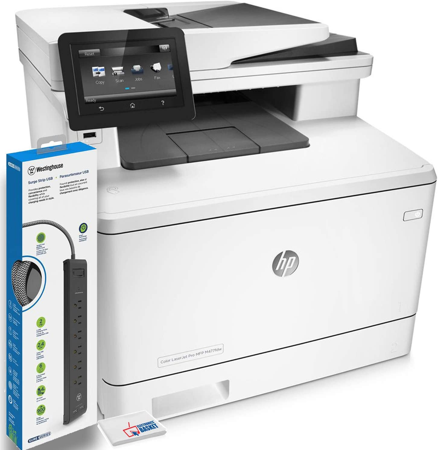 HP Color Laserjet Pro M477fdw All-in-One Laser Printer (CF379A) with Power Strip Surge Protector and Electronics Basket Microfiber Cleaning Cloth