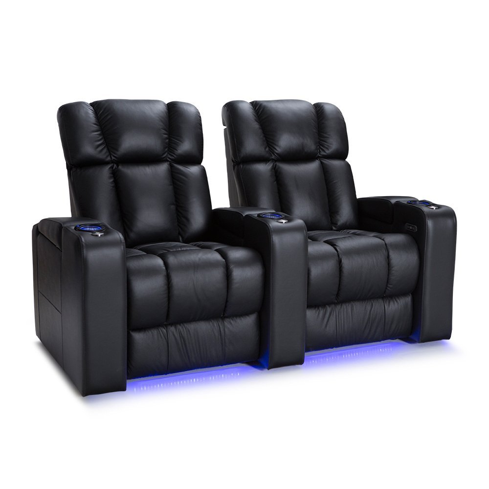 Palliser Collingwood Leather Home Theater Seating Power Recline - (Row of 2, Black)