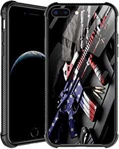 iPhone SE 2020 Case,USA Weapon Gun iPhone 8 Case,for Men Boys iPhone 7 Cases,Shockproof Anti-Scratch Soft TPU Pattern Design Case for Apple iPhone 7/8/SE 2 4.7-inch USA Weapon Gun