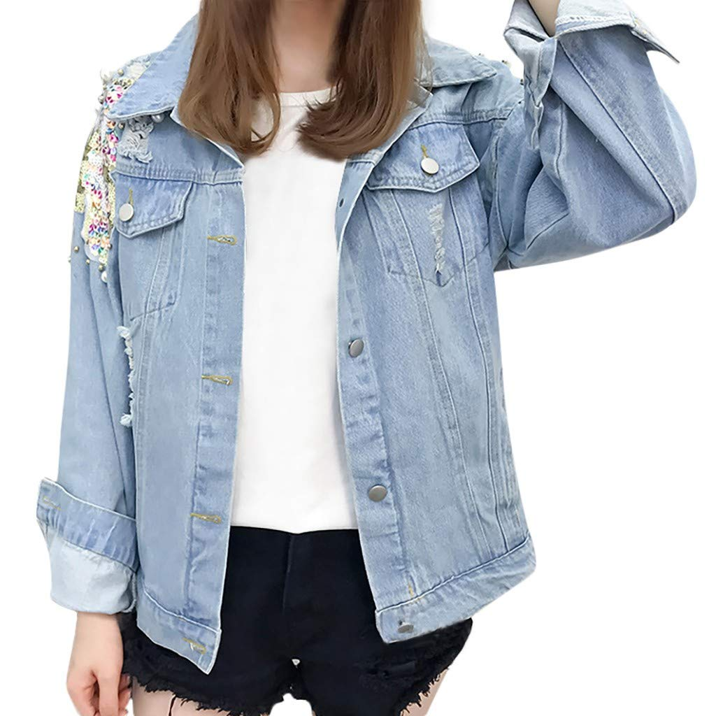 Armfre Tops Women's Long Sleeve Denim Jacket Button Down Lapel Collar Cardigan Coat Sequin Pearl Detailed Jean Trucker Jackets Outerwear 2X by Armfre Tops