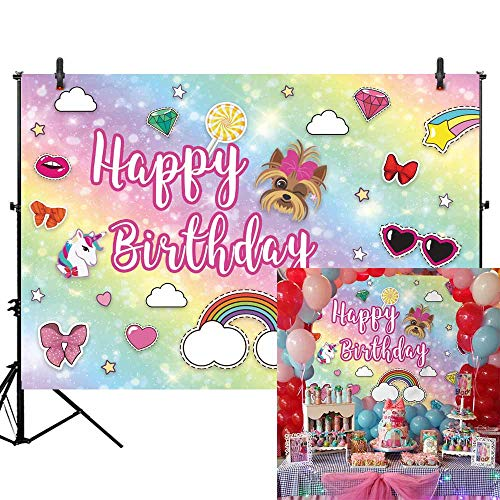 Allenjoy 7x5ft Glitter Cartoon Rainbow Backdrop for Girls 1st First Birthday Party Banner Colorful Bokeh Sparkle Unicorn Photography Background for Sweet 16 Baby Shower Cake Table Decors Photo Booth -