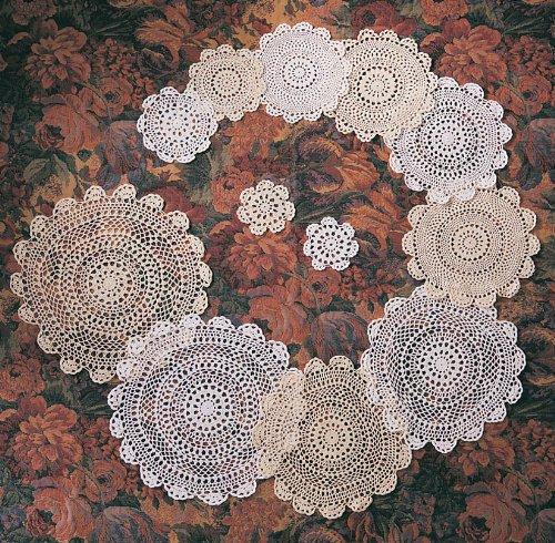 Handmade, Crochet Lace Doily. 100% Cotton Crochet. Ecru, 12 Inch Round. Four pieces .