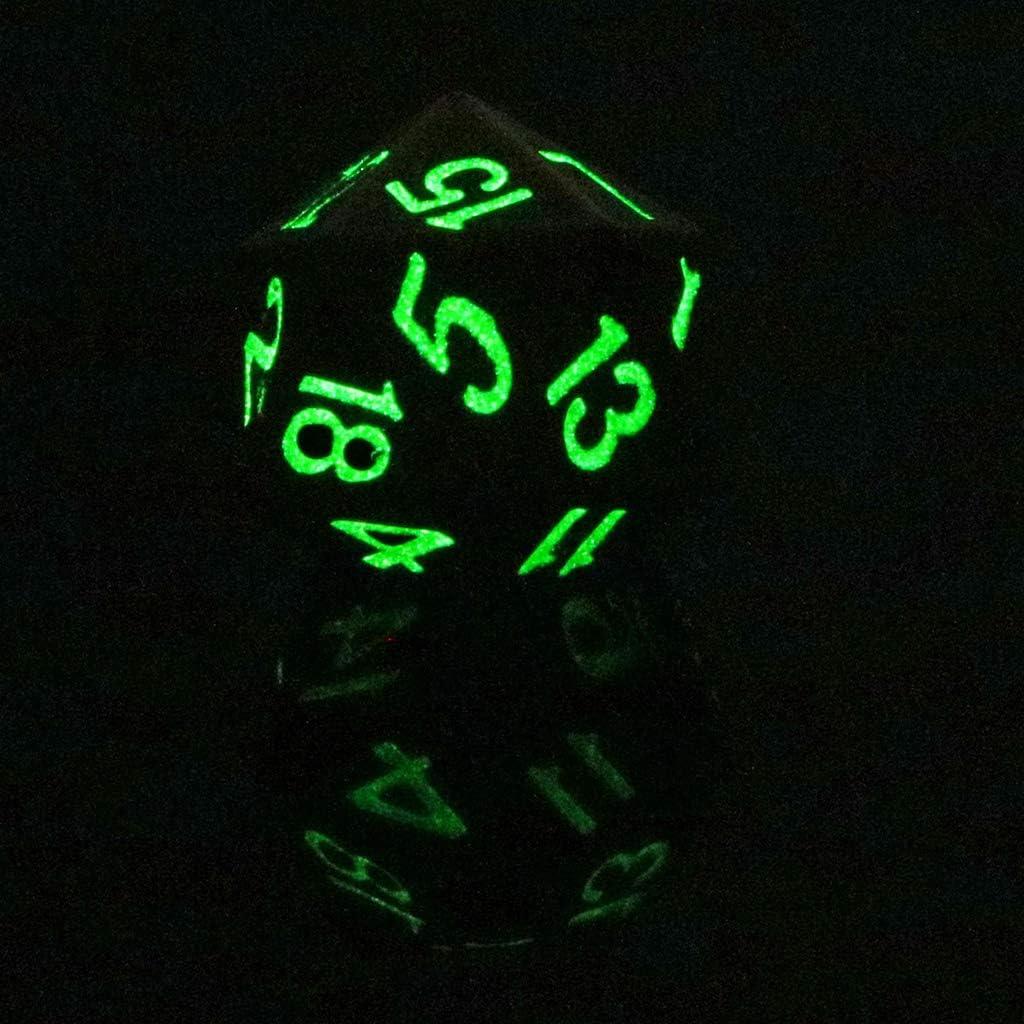 Dice Heavy Metal D20 Twenty-sided 0.87inch Glow in the Dark Number 1-20