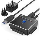 """FIDECO USB 3.0 a IDE e SATA Converter Hard Drive Adattatore per 2,5"""" e 3,5""""SATA HDD SSD/3.5""""e 2.5"""" IDE HDD, Supporto Offline Clone, Incluso Adattatore di Alimentazione DC 12V 2A & Cavo USB 3.0"""
