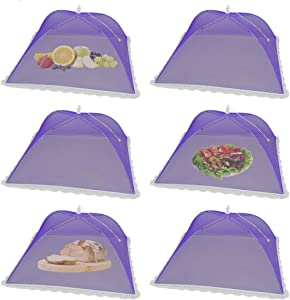 (6Pack) Pop-up Picnic Food Tent Covers, 17x17Inch Purple Foldable Mesh Screen Food Covers for Outdoors, Reusable Food Cover Net Keep out Flies, Mosquitoes