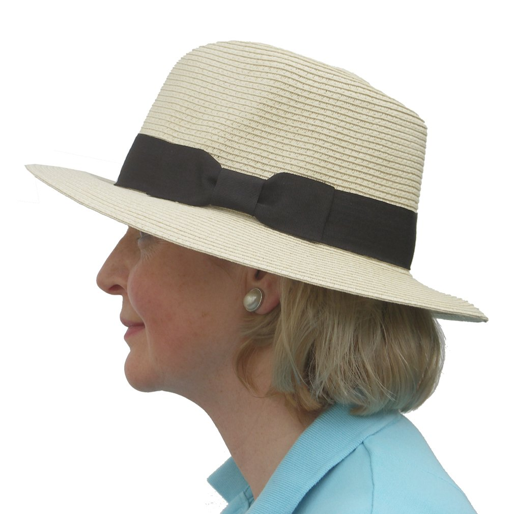 Ladies /& Mens Unisex Roll Up Packable Panama Style Sun Hat with Black Band