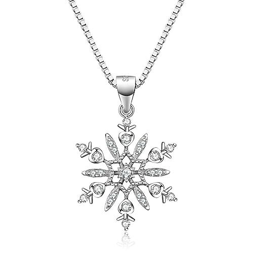 5da67925f1f9 JVénus Collares de mujer, collar colgante de copo de nieve de plata  esterlina para mujeres, 45cm, regalo ideal el día de San Valentín,  cumpleaños