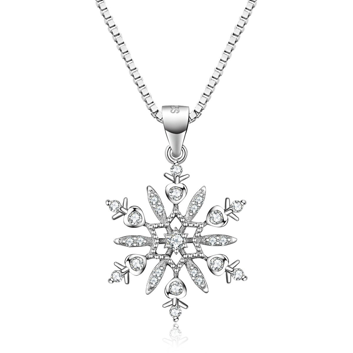 J.Vénus Snowflake Necklace 925 Sterling Silver Christmas Present Valentine\'s day Gift 45cm