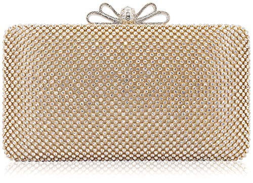 - Dexmay Bling Rhinestone Crystal Clutch Purse Bow Clasp Women Evening Bag for Bridesmaid Wedding Party Gold