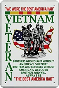 Bit SIGNSHM Vietnam Veteran Retro Metal Tin Sign Plaque Poster Wall Decor Art Shabby Chic Gift Suitable 12x8 Inch