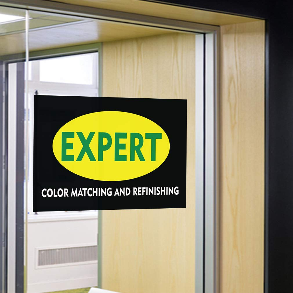 Set of 5 27inx18in Decal Sticker Multiple Sizes Expert Color Matching and Refinishing Business Expert Outdoor Store Sign Black